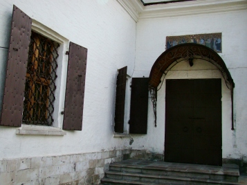 The entrance to the small church. It doesnt look very inviting