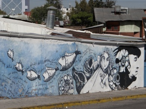 Mural close to Pablo Nevruda's house here in Santiag