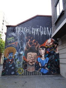 Most of the clubs and pubs in Santiago have colourful walls and entrances