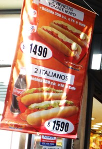 A Chilean hot dog or Italiano as they are called here in Santiago is served with salsa, avocado and mayonnaise!