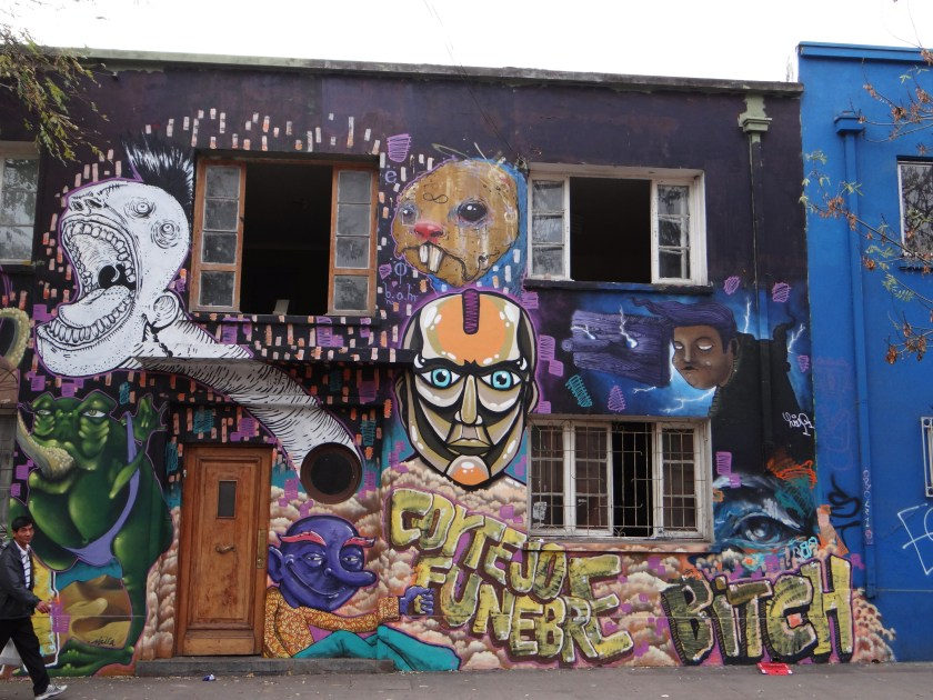 A lot of the buildings in Bellavista district are covered in graffiti
