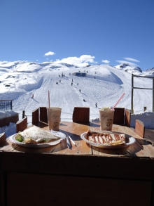 Having a crepe filled with Manjar up in the beautiful Andes