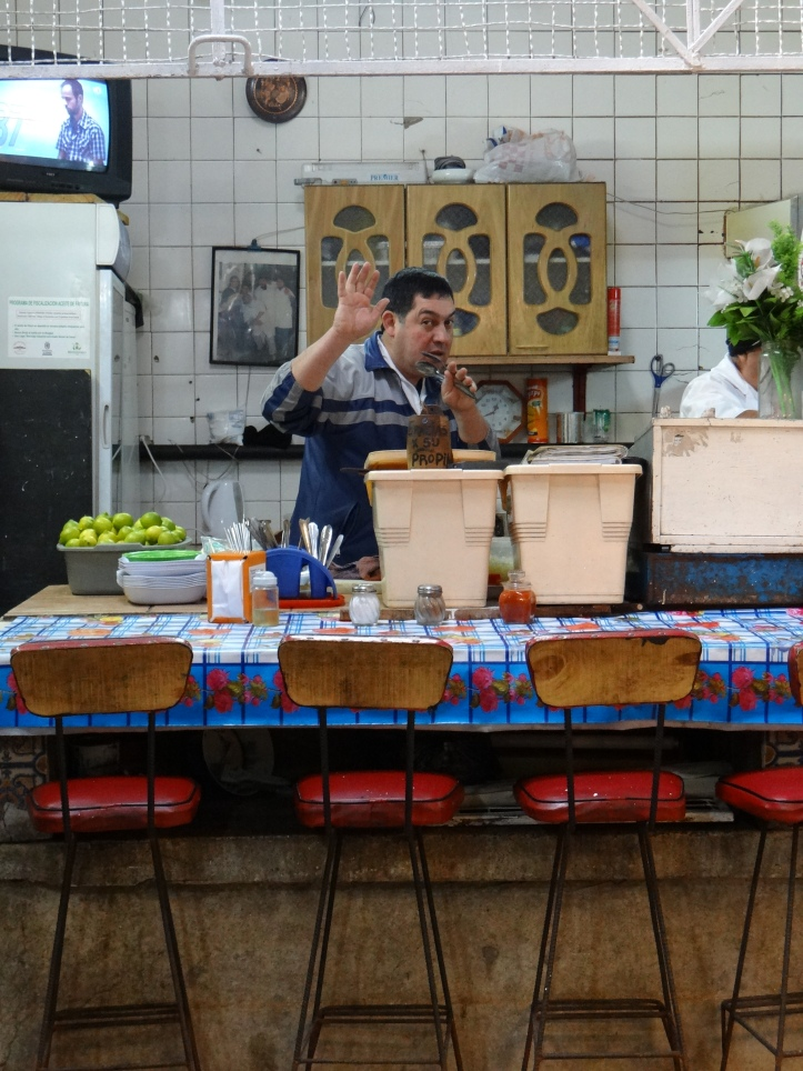 Having fresh Ceviche in the Fish Market!!