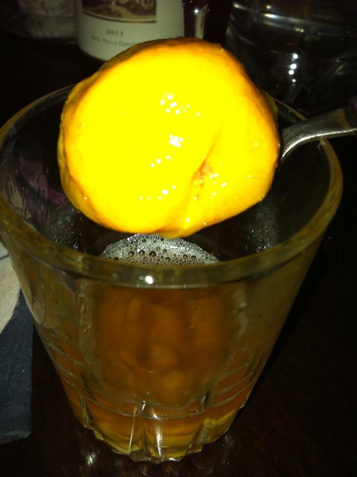 The dried peach inside my   Mote con Huesillos