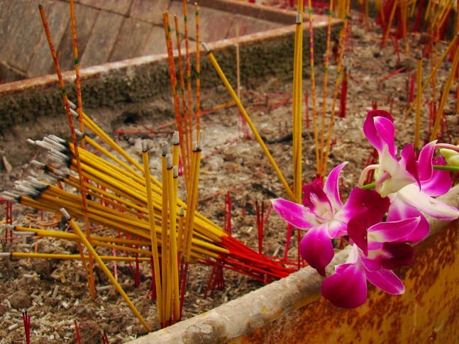 Incense and flowers