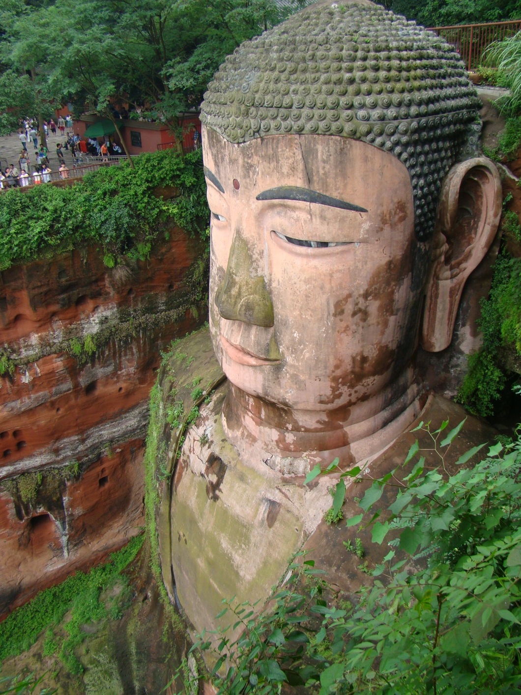 The Buddha is 71 meters tall,  the largest stone Buddha in the world