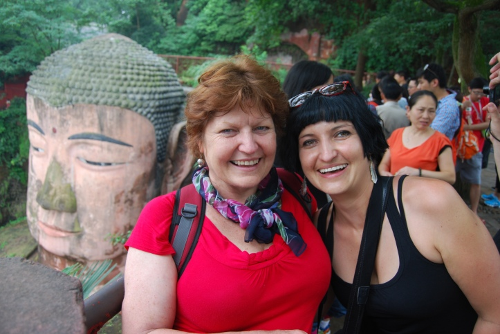 Mom and I in front of the Leshan Giant Buddha