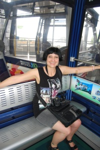 Sitting in our Glass Bottom Cable car!!