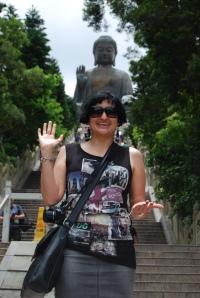 Greeting the world, Buddha style