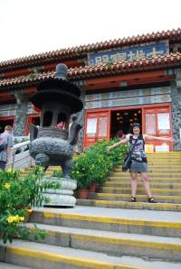 Entering the beautiful monastery