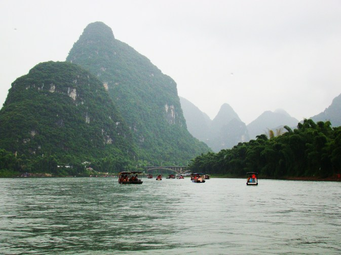 Karst mountains all along the Li River