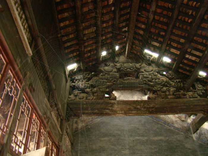 The rafters inside the temple