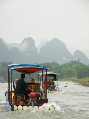 The river was covered in powered bamboo rafts