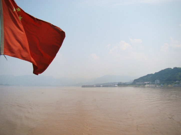 Looking out over the hazy Yangtze River