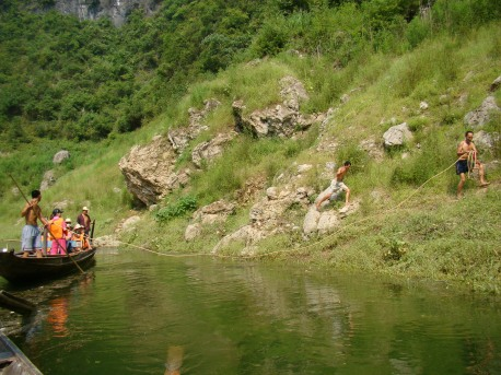 towing the boat upstream by rope