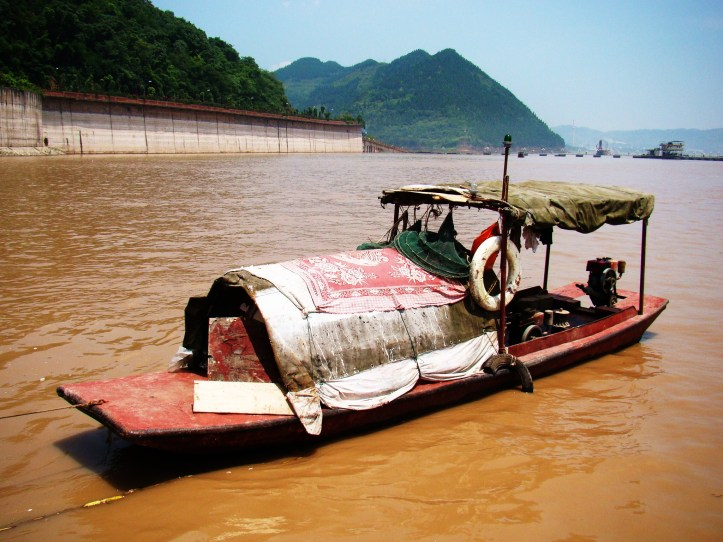 One of the small boats we passed on the huge Yangtze River