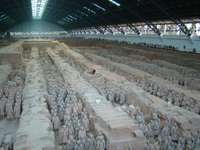 View of Pit 1, the largest excavation pit of the Terracotta Army.