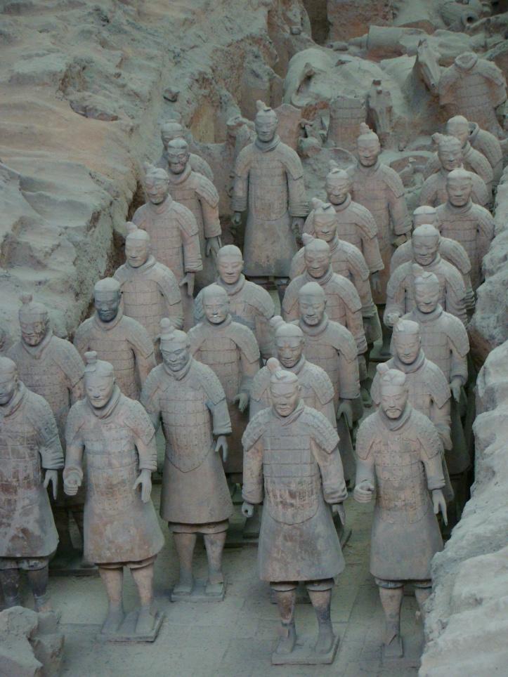 Ranks of terracotta infantrymen.