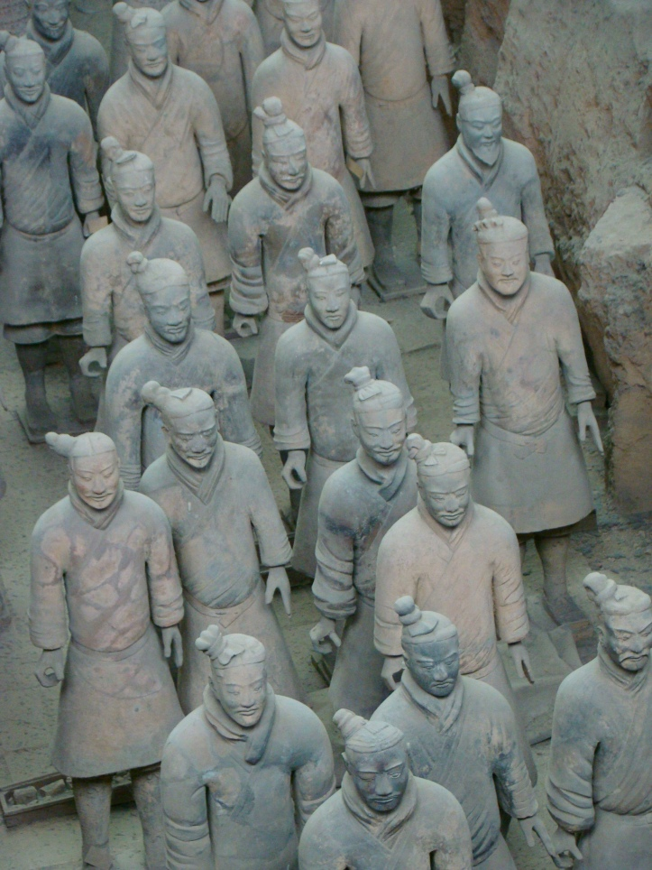 Note how the faces of these soldiers differ from each other. Each statue was constructed to be unique.