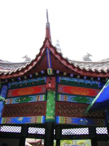 The colourfully decorated temples and walkways