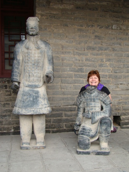 Mom being a Xian Terracotta warrior