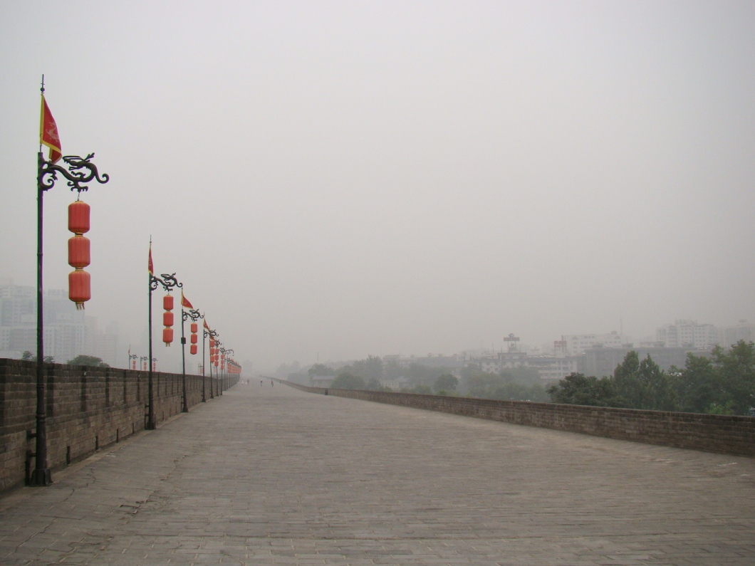 Driving along the empty mist shrouded City Wall