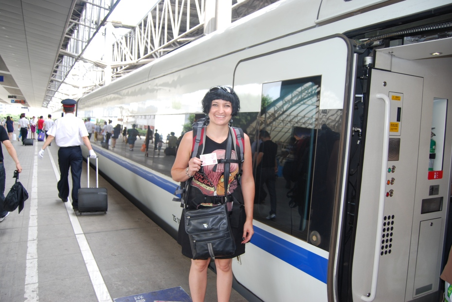 Boarding our speed train from Chongqing to Chengdu