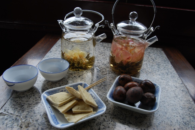 Our Flowering tea with a selection of cute tea snacks