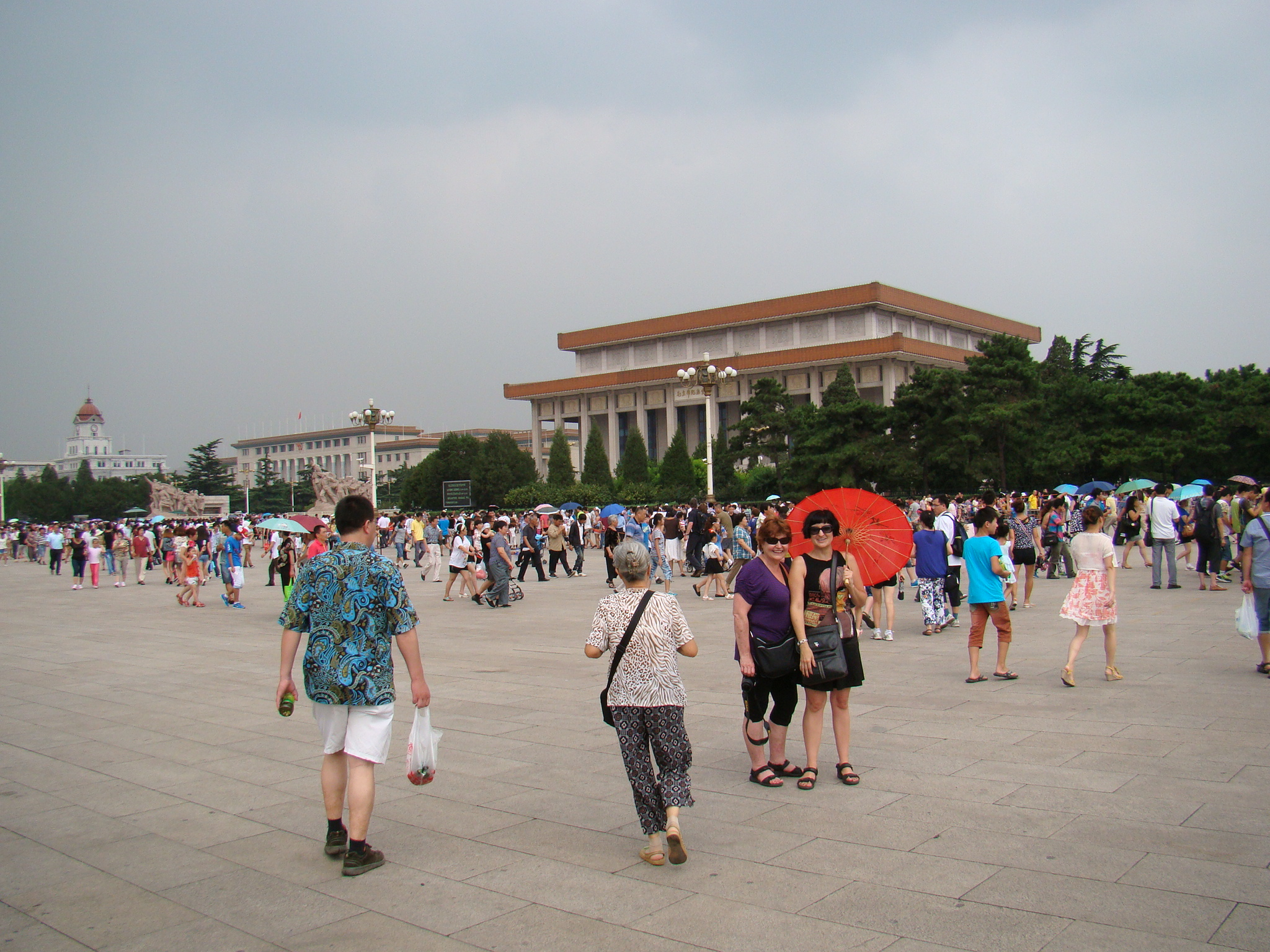 Me and mom stansing on Tiananmen Square with the mausoleum behind us.