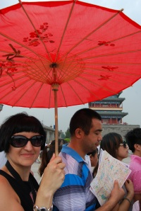 Waiting in line to enter Tiananmen Square
