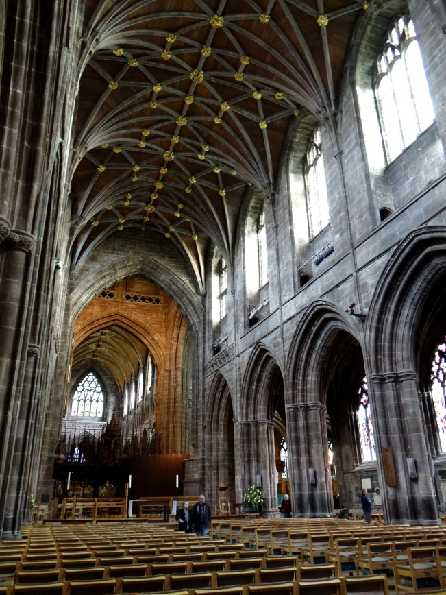 The building of the nave, begun in 1323, was halted by plague and completed 150 years later.