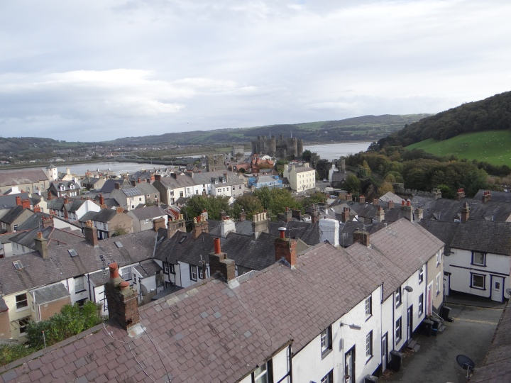 I lve the chimney covered roof tops of Conwy