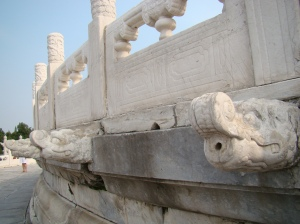 The  three levels of marble stones were decorated by lavishly carved dragons