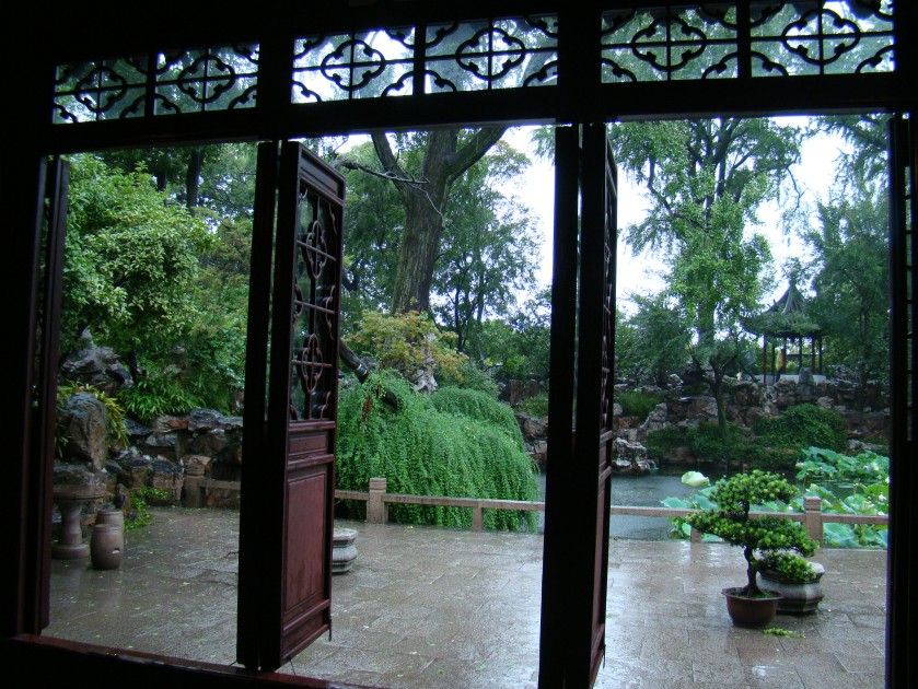 View of the garden out of the pavillion