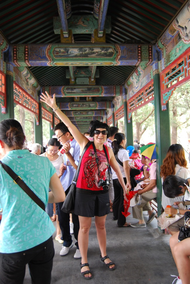 Walking through the colourful Long Gallery of the Western Causeway