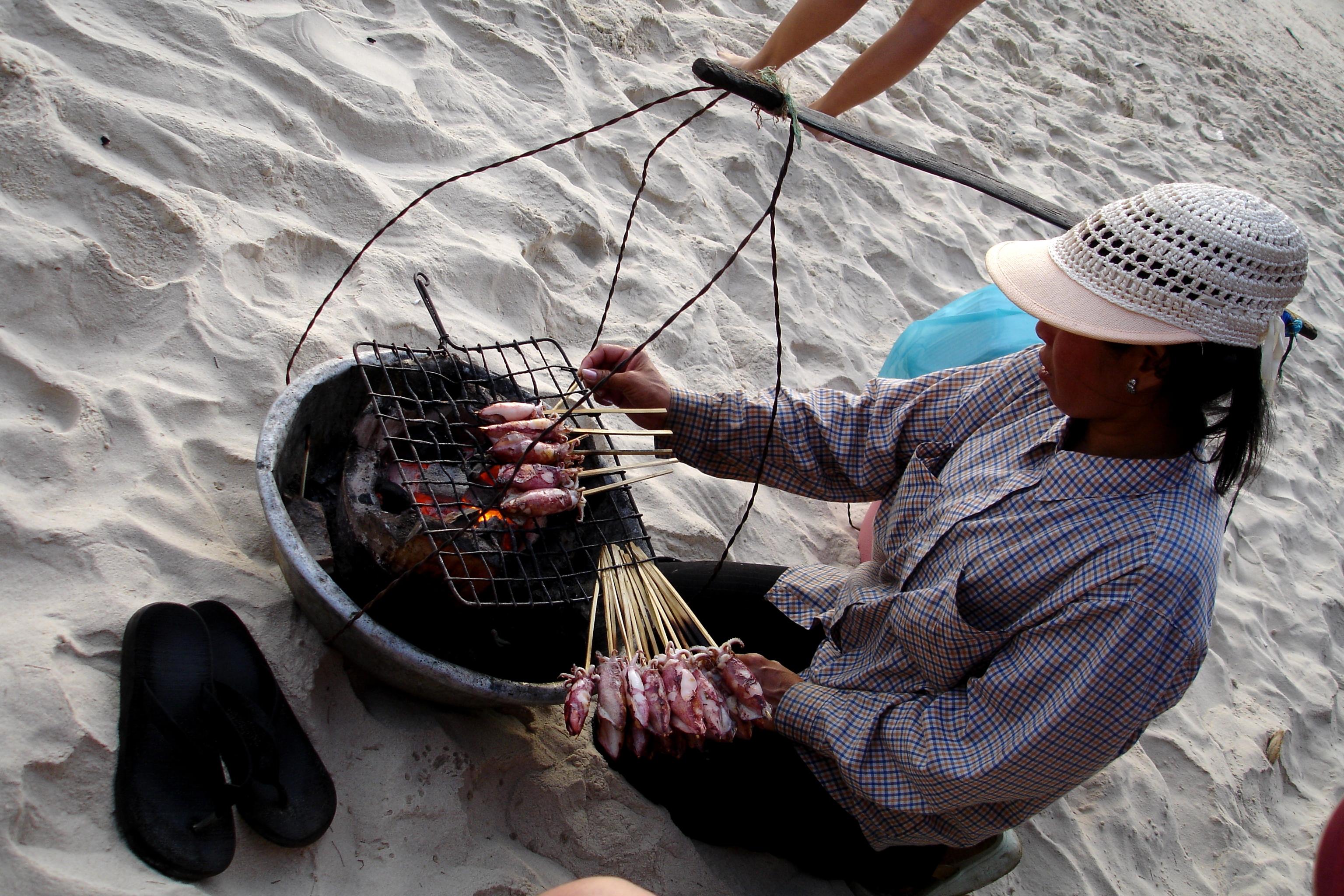 Fresh BBQ Squid on the beach
