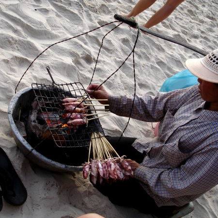 Fresh BBQ Squid on the beach
