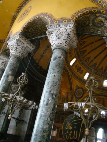 The mihrab located in the apse where the altar used to stand, pointing towards Mecca