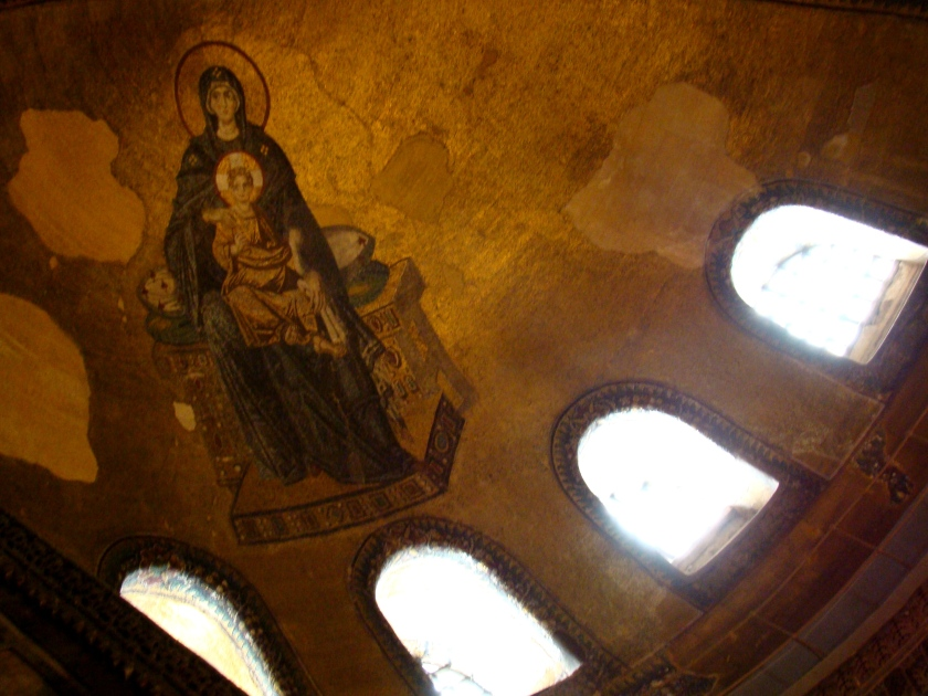 Looking up from this area there is a splendid apse mosaic depicting the Virgin and Child.
