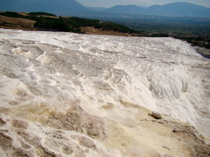 Pamukkale with its sparkling white castle -like cascadesPamukkale with its sparkling white castle -like cascades
