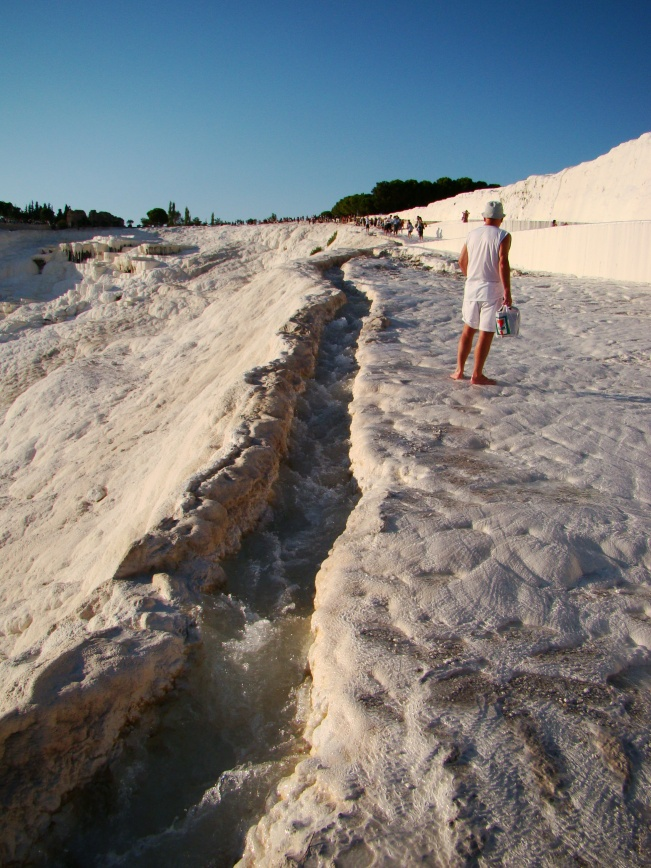 Pamukkale with its sparkling white castle -like cascades