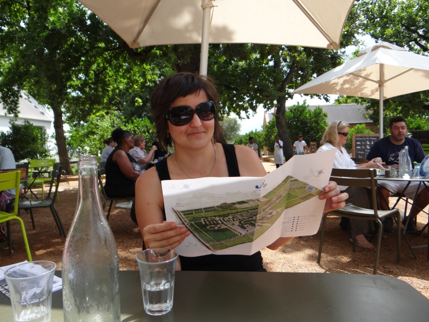 Planning our route at the Farm restaurant