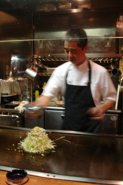 okonomiyaki is made with shredded cabbage