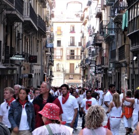 Running of the bulls in Pamplona, Spain